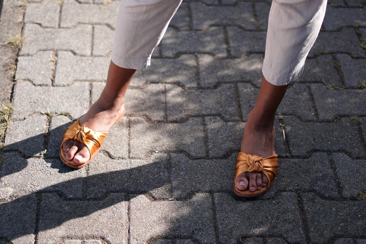 Mango gold sandals