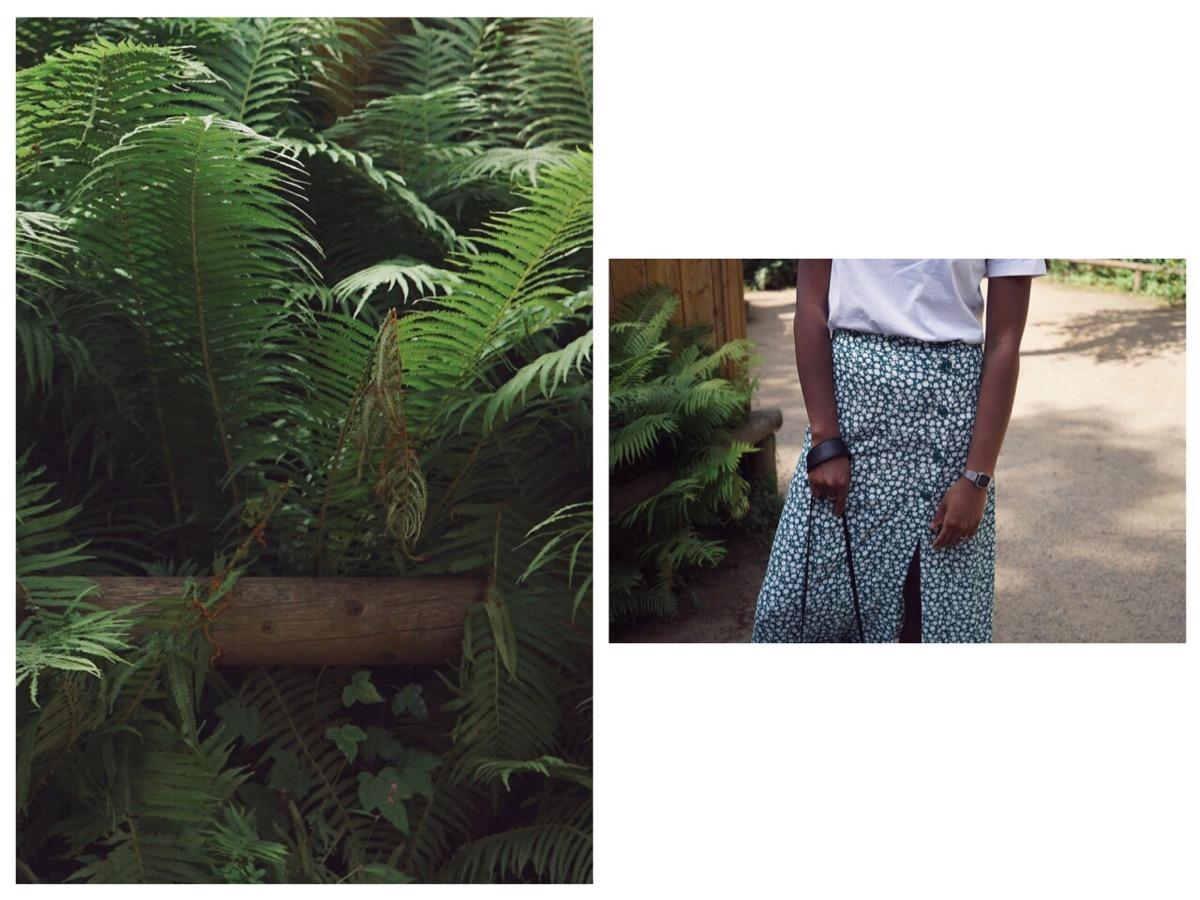 Floral green midi skirt
