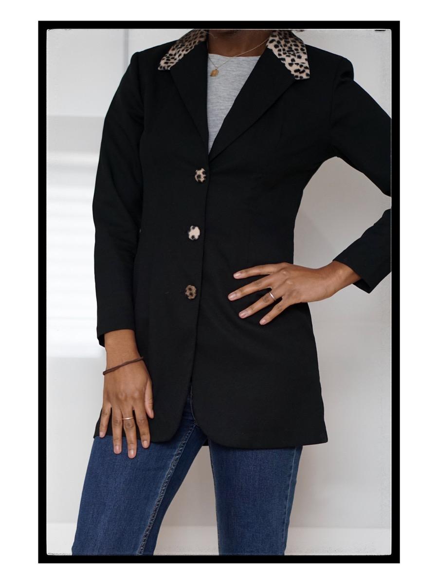 Black blazer with animal print